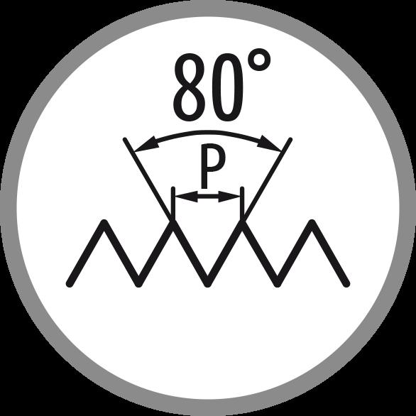 Schéma profilu závitu: 80°