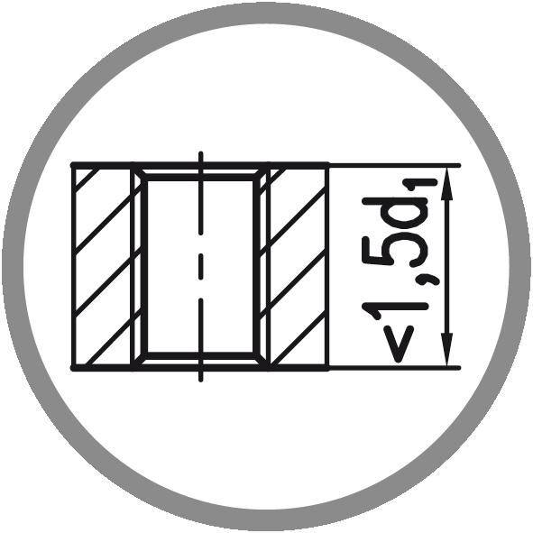 Typ otvoru: Průchozí (délka závitu L < 1,5xd1)