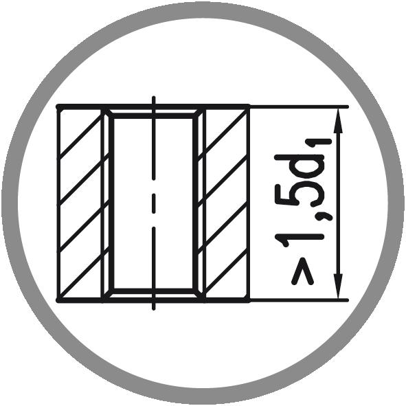 Typ otvoru: Průchozí (délka závitu L > 1,5xd1)