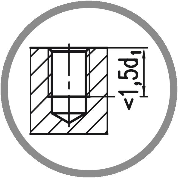 Typ otvoru: Neprůchozí (délka závitu L < 1,5xd1)