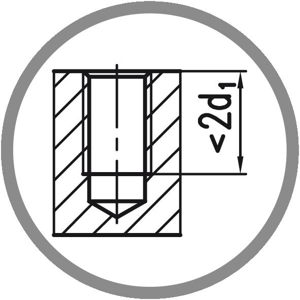 Typ otvoru: Neprůchozí (délka závitu L < 2xd1)