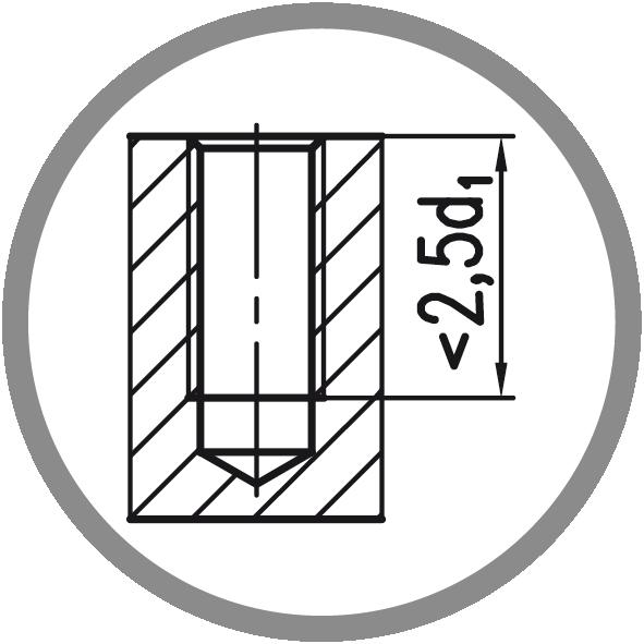 Typ otvoru: Neprůchozí (délka závitu L < 2,5xd1)