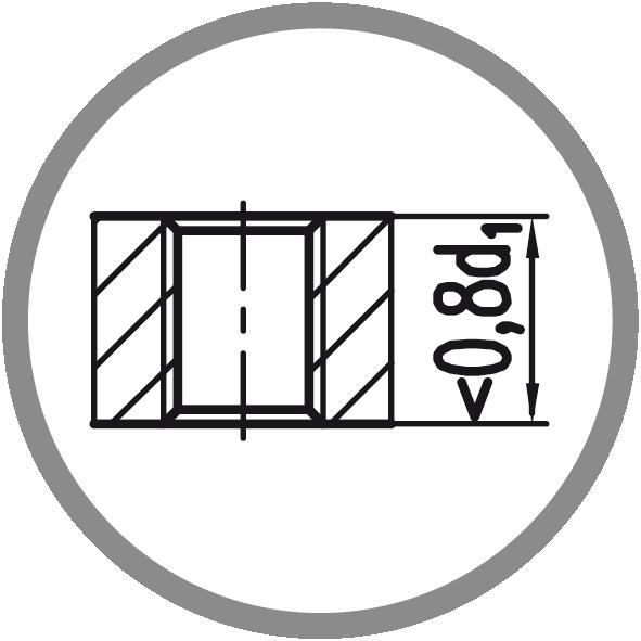 Typ otvoru: Průchozí (délka závitu L < 0,8xd1)
