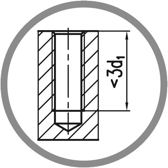 Typ otvoru: Neprůchozí (délka závitu L < 3xd1)