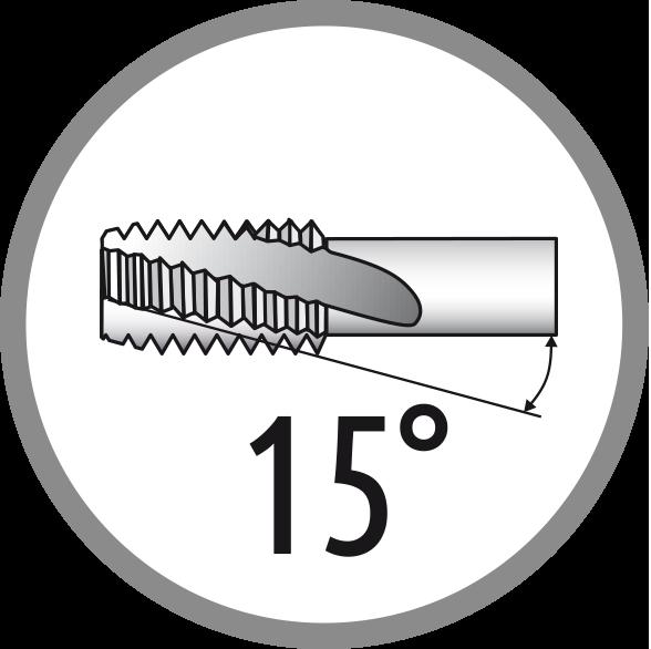 Úhel šroubové drážky: 15°