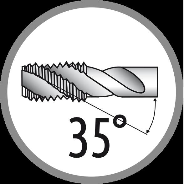 Úhel šroubové drážky: 35°