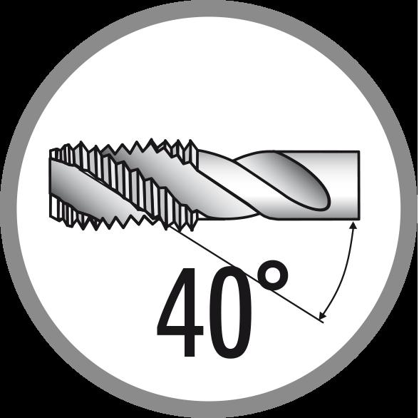Úhel šroubové drážky: 40°