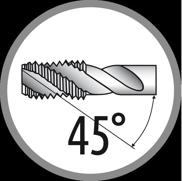 Úhel šroubové drážky: 45°