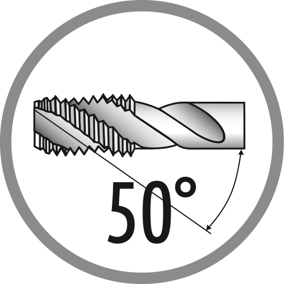 Úhel šroubové drážky: 50°