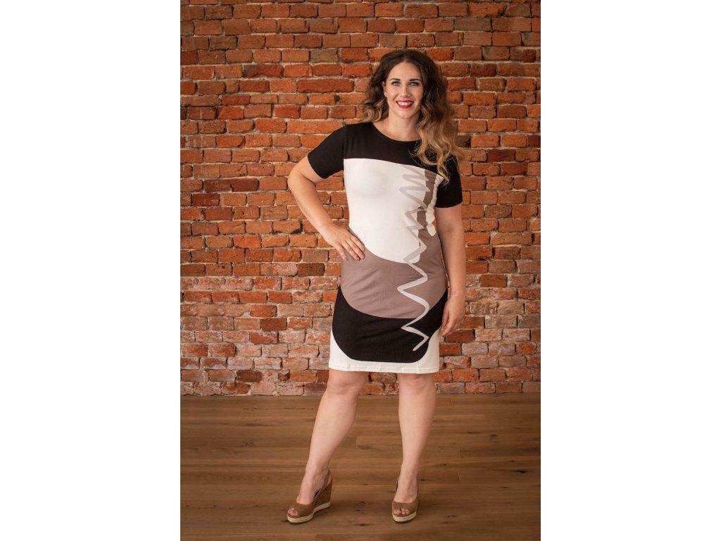 Černo-bílo-hnědé šaty