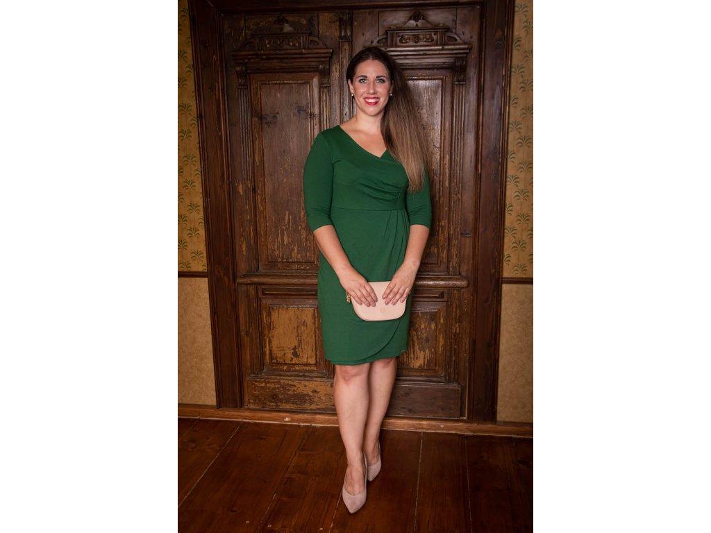 Zelené šaty s 3/4 rukávem