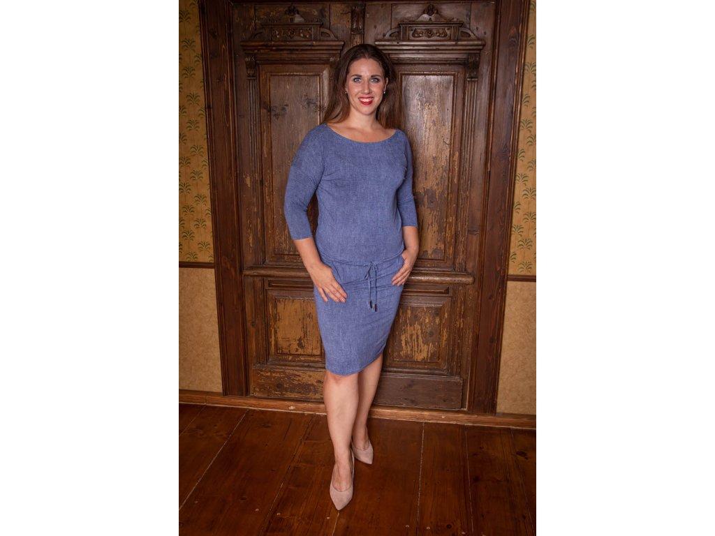 Modré sportovní šaty s 3/4 rukávem