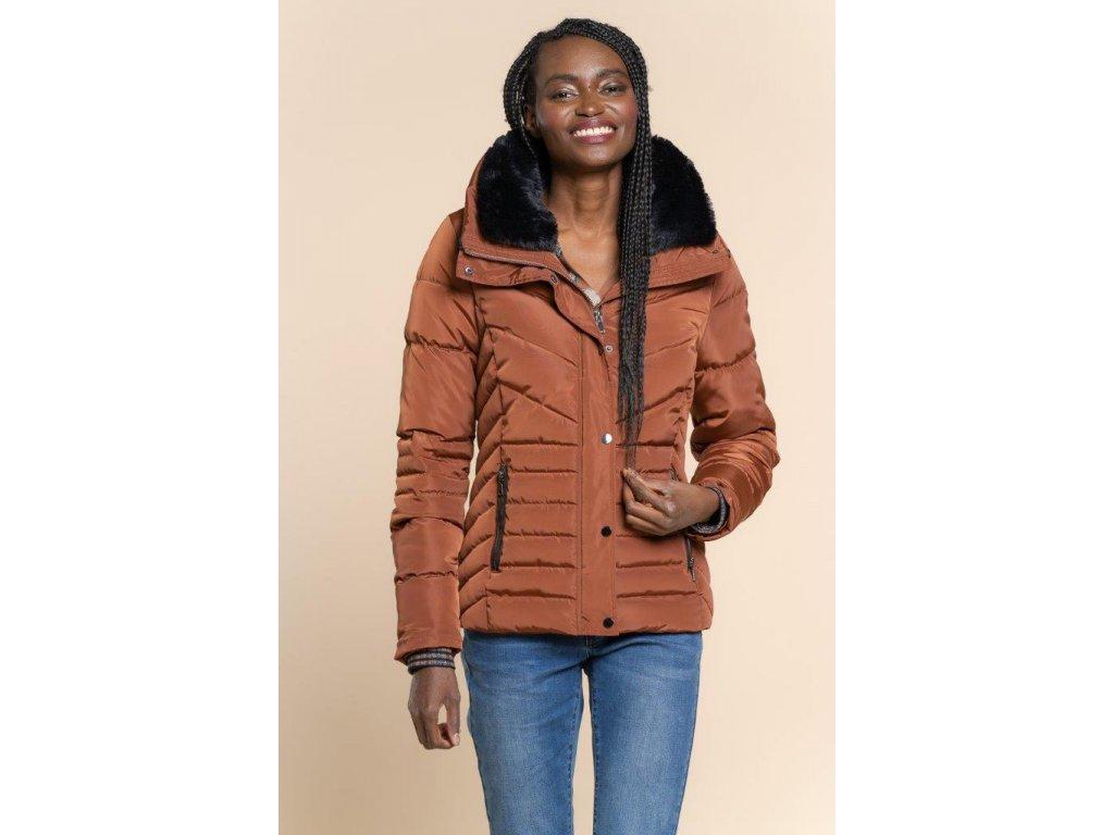 Zimní prošívaná bunda hnědo-cihlová