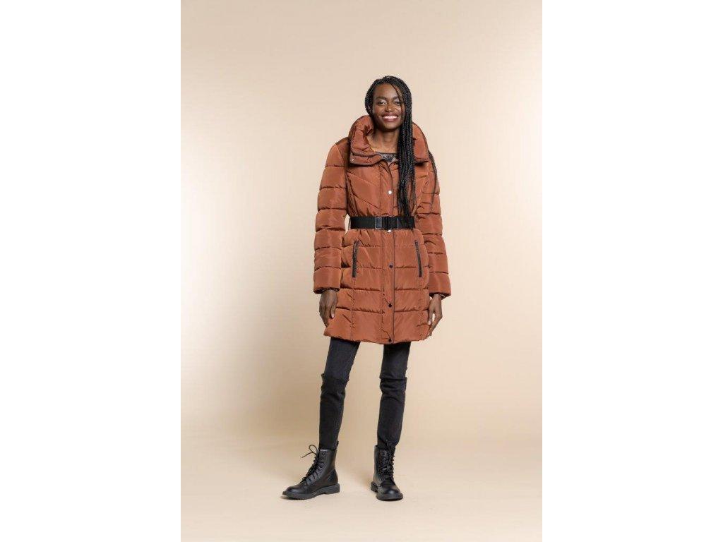 Dlouhá zimní prošívaná bunda hnědo-cihlová