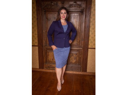 Modré sako s dlouhým rukávem