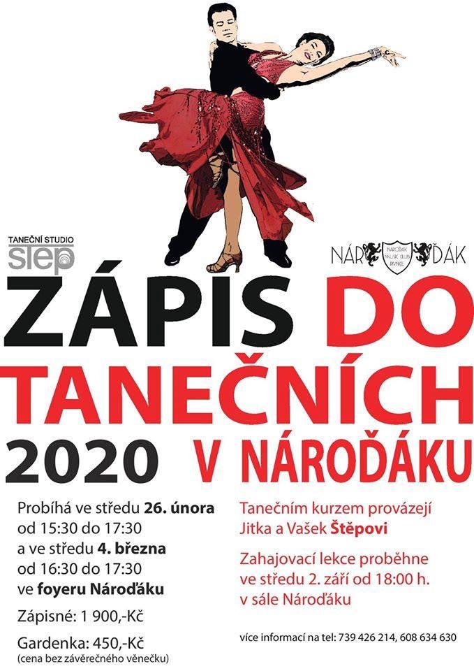 Zápis do tanečního kurzu 2020 v Nároďáku