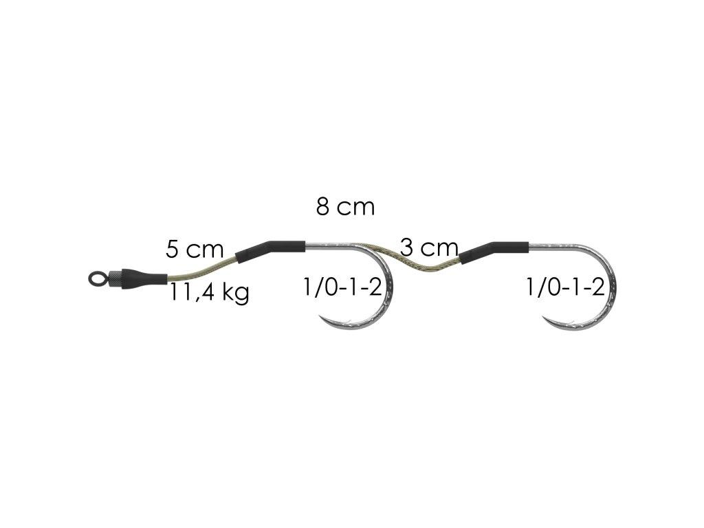AKCE Dvojnávazec za krmítko 8cm 11,4kg 2/0 (2ks)