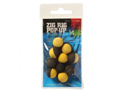 Pěnové plovoucí boilie Zig Rig Pop-Up yelow-black 10mm,10ks