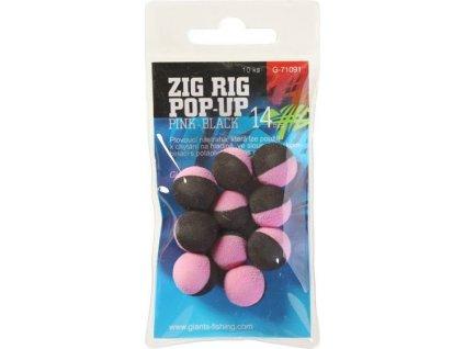 Pěnové plovoucí boilie Zig Rig Pop-Up pink-black 10mm,10ks