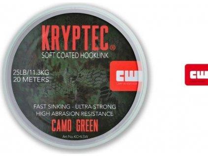 Carp Whisperer ztužená šňůrka Kryptec Coated Hooklink Soft Camo Gravel