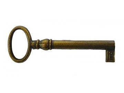 Nábytkový klíč  (povrchová úprava mosazná patina), l=69mm