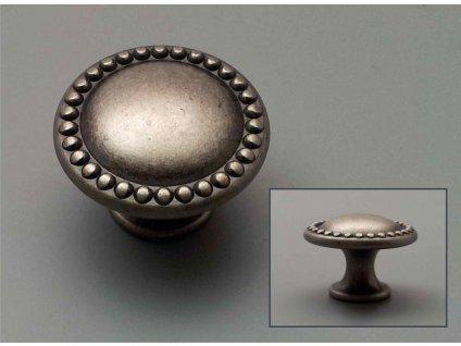 rustikální úchytka mosazná knopka stříbrná