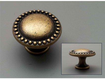 rustikální úchytka mosazná knopka zlatá