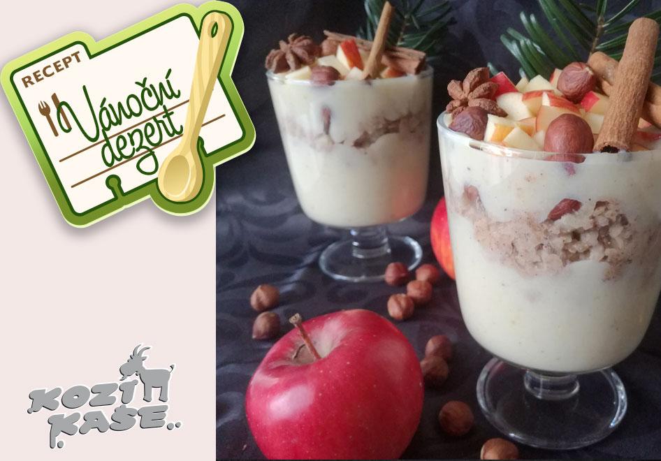 Vánoční dezert z Kozí kaše s jablky a oříšky