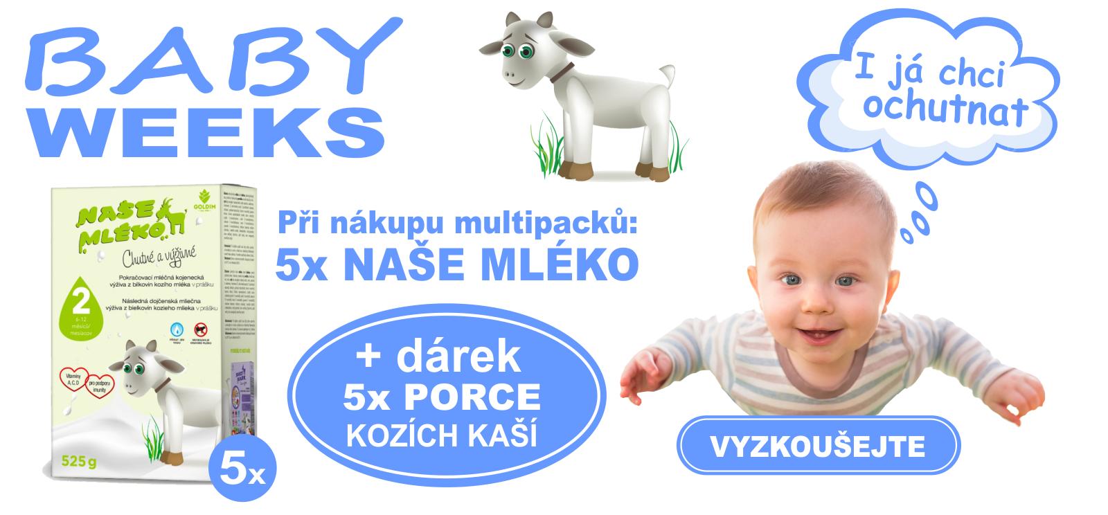 BABY WEEKS 5x porce kozích kaší jako dárek