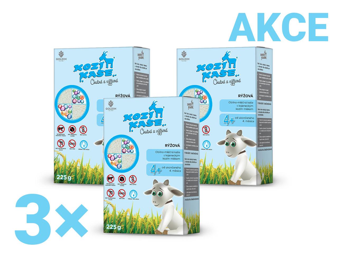 Levně Kozí kaše pro kojence rýžová multipack 3x 225g