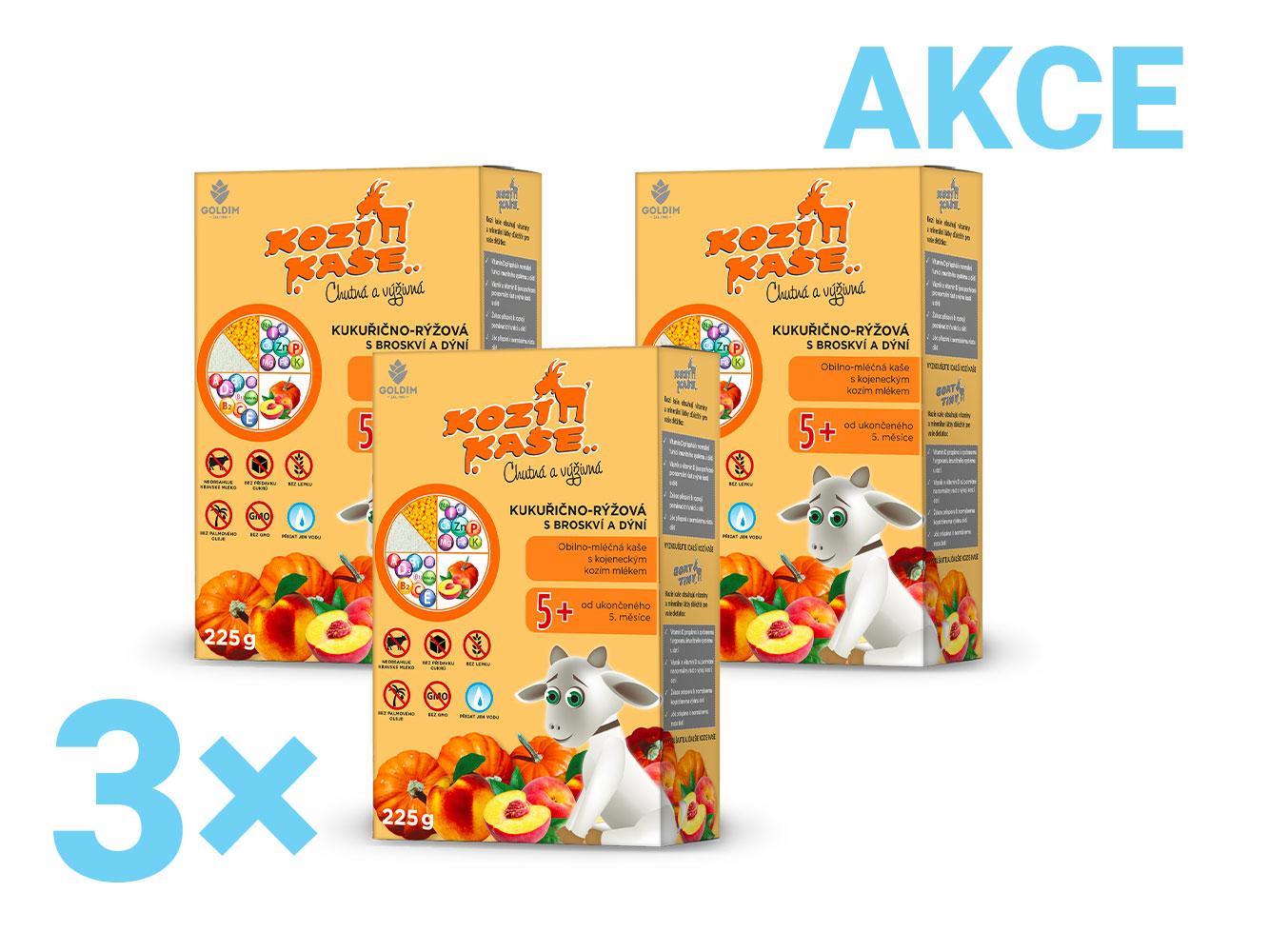 Levně Kozí kaše kukuřično-rýžová s broskví a dýní multipack 3x225g