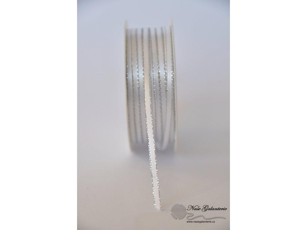 Bílá se stříbrným okrajem 3mm