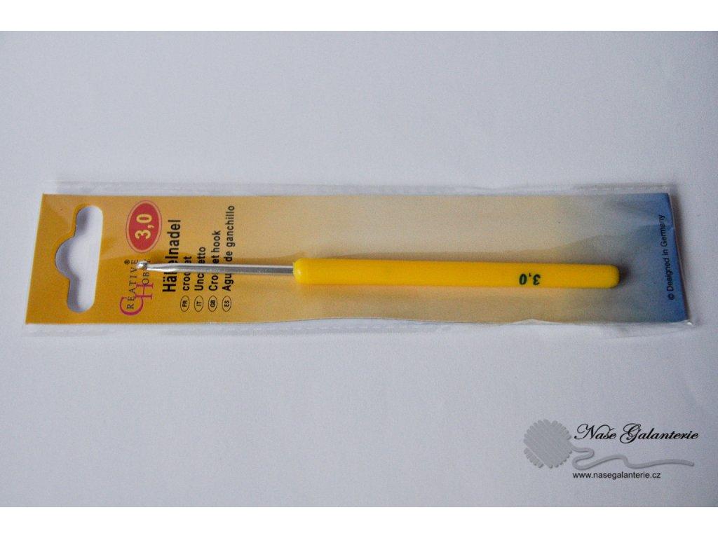 Háček pletací s plastovu ručkou 3 mm
