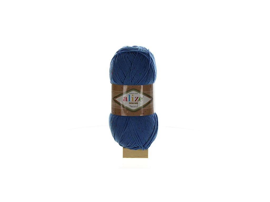 Cotton Gold Tweed modrá 236
