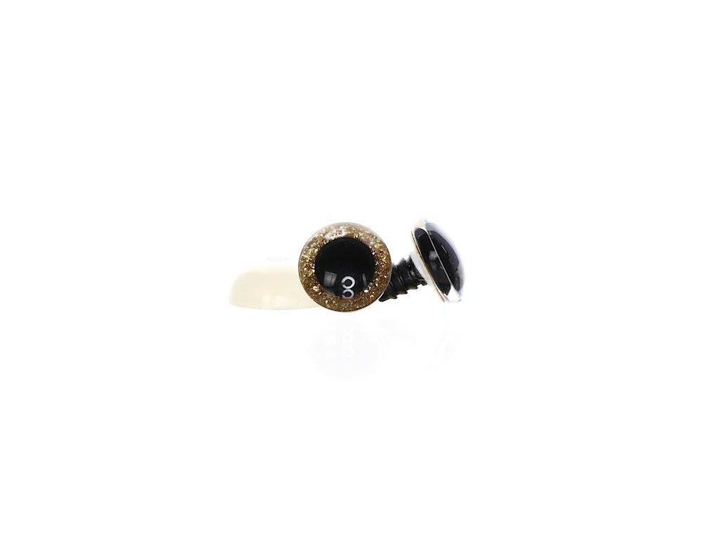 Oči třpytivé zlaté 16 mm