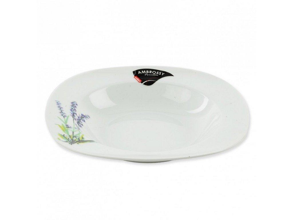 Porcelánový hluboký talíř Levandule, 21 x 21 cm