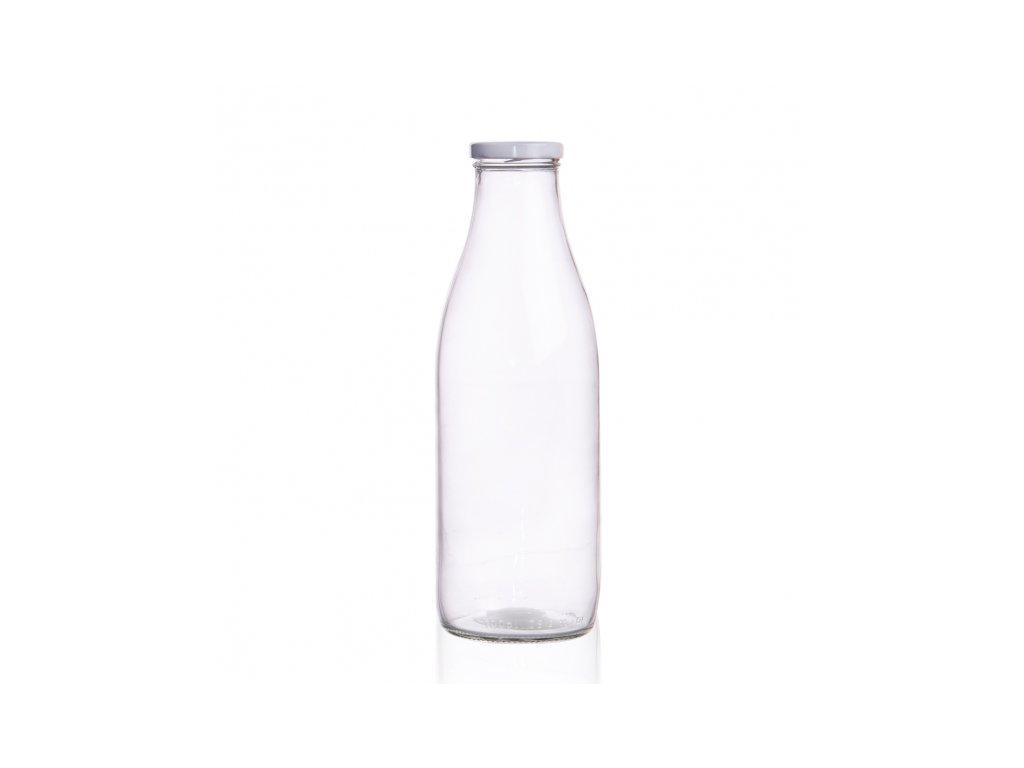 Láhev sklo+víčko na mléko 1l čirá