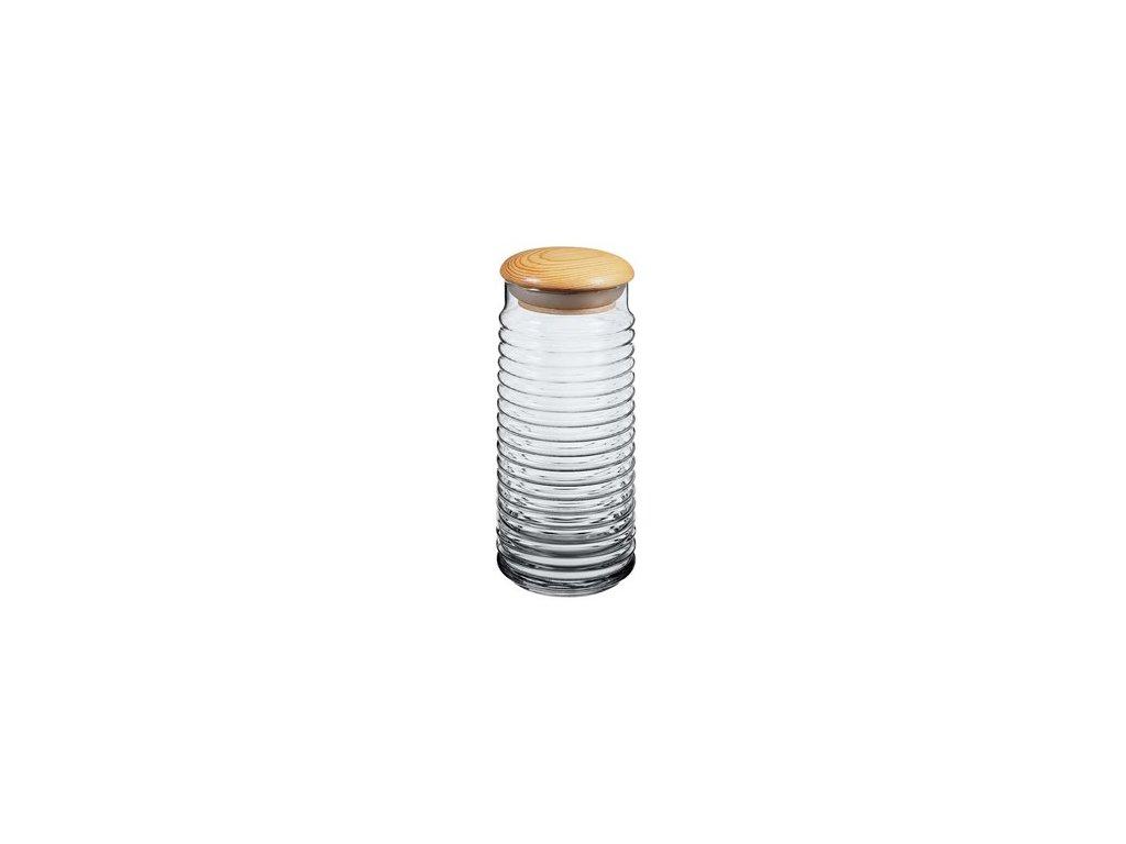 Dóza skleněná s dřevěným víkem BABYLON 1,5 l