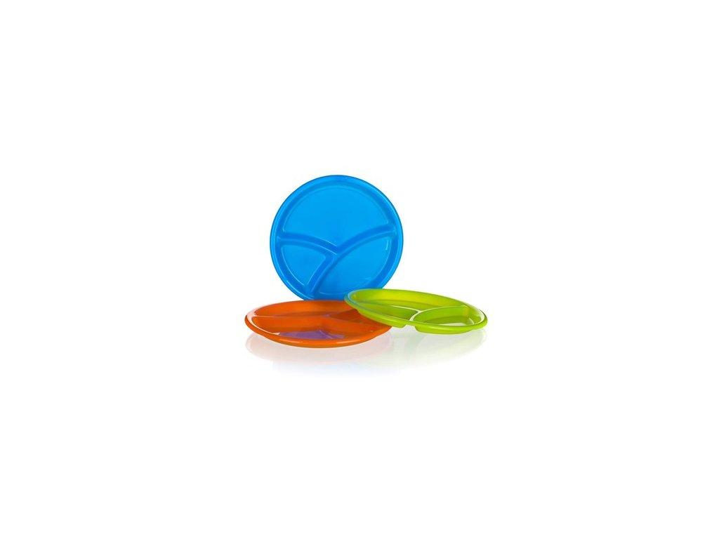 Talíř plastový dělený 25,5 x 2,3 cm, mix barev