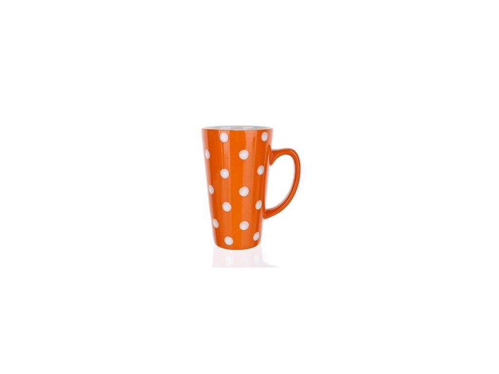 BANQUET Hrnek keramický vysoký 450 ml, oranžový s puntíky