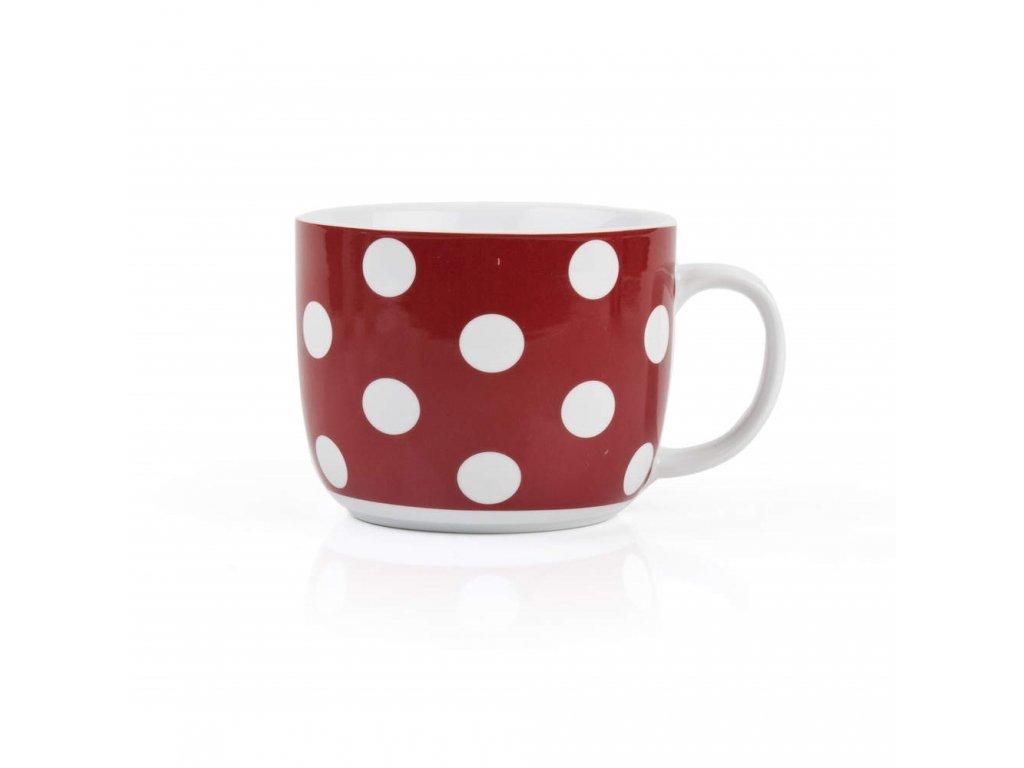 BANQUET Hrnek keramický polévkový 730 ml, červený s puntíky