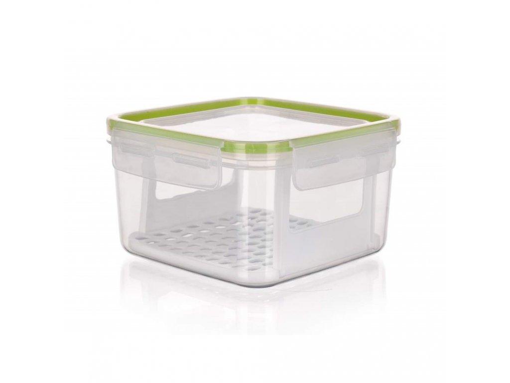 BANQUET Dóza plastová hermetická SUPER CLICK 1,2 l, zelená, s mřížkou