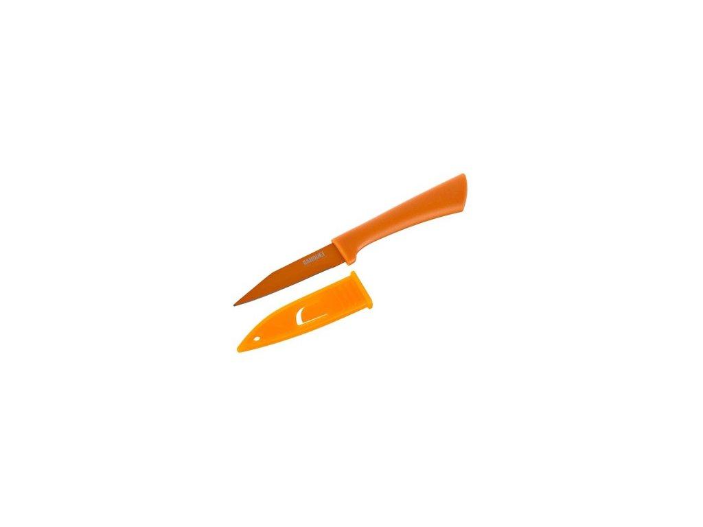 Nepřilnavý nůž s pouzdrem Banquet oranžový, čepel 8 cm