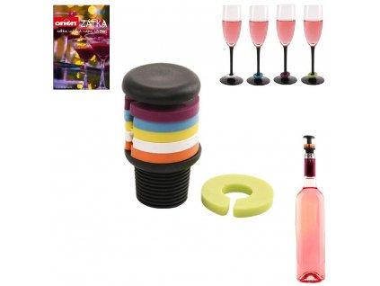56415 plastova zatka na vino s rozlisovaci na sklenice 7 dilu