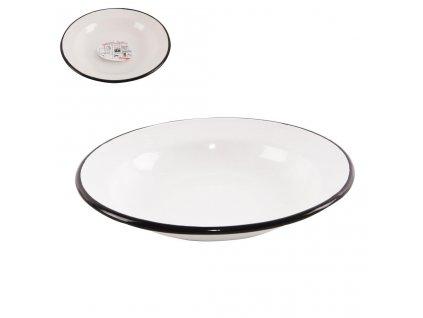 Hluboký smaltovaný talíř bílý, průměr 22 cm