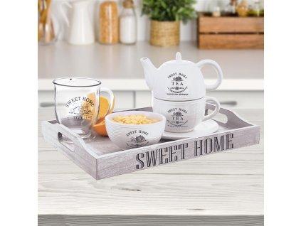 Dřevěný servírovací tác s uchy Sweet Home, 38 x 26 cm