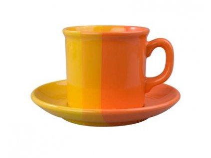 BANQUET Šálek s podšálkem keramický 240 ml, oranžovožlutý
