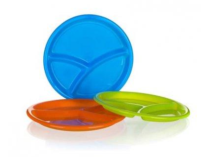 Talíř plastový dělený dia 25,5 cm x 2,3 cm, asortace barev: oranž, modrá, červená, zelená