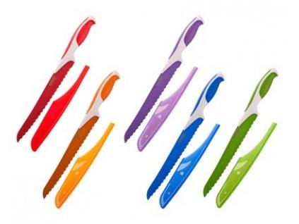 BANQUET Nůž na chléb s nepřilnavým povrchem SYMBIO NEW 33,5 cm, mix barev, s pouzdrem na čepel