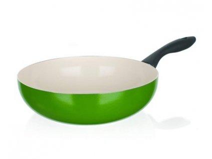 Pánev WOK s keramická, Banquet NATURA CERAMIA Verde 28 cm, zelená